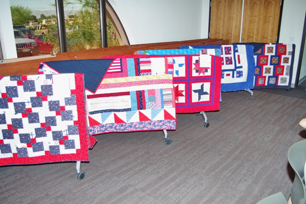 Quilts on display during ceremony June 9th