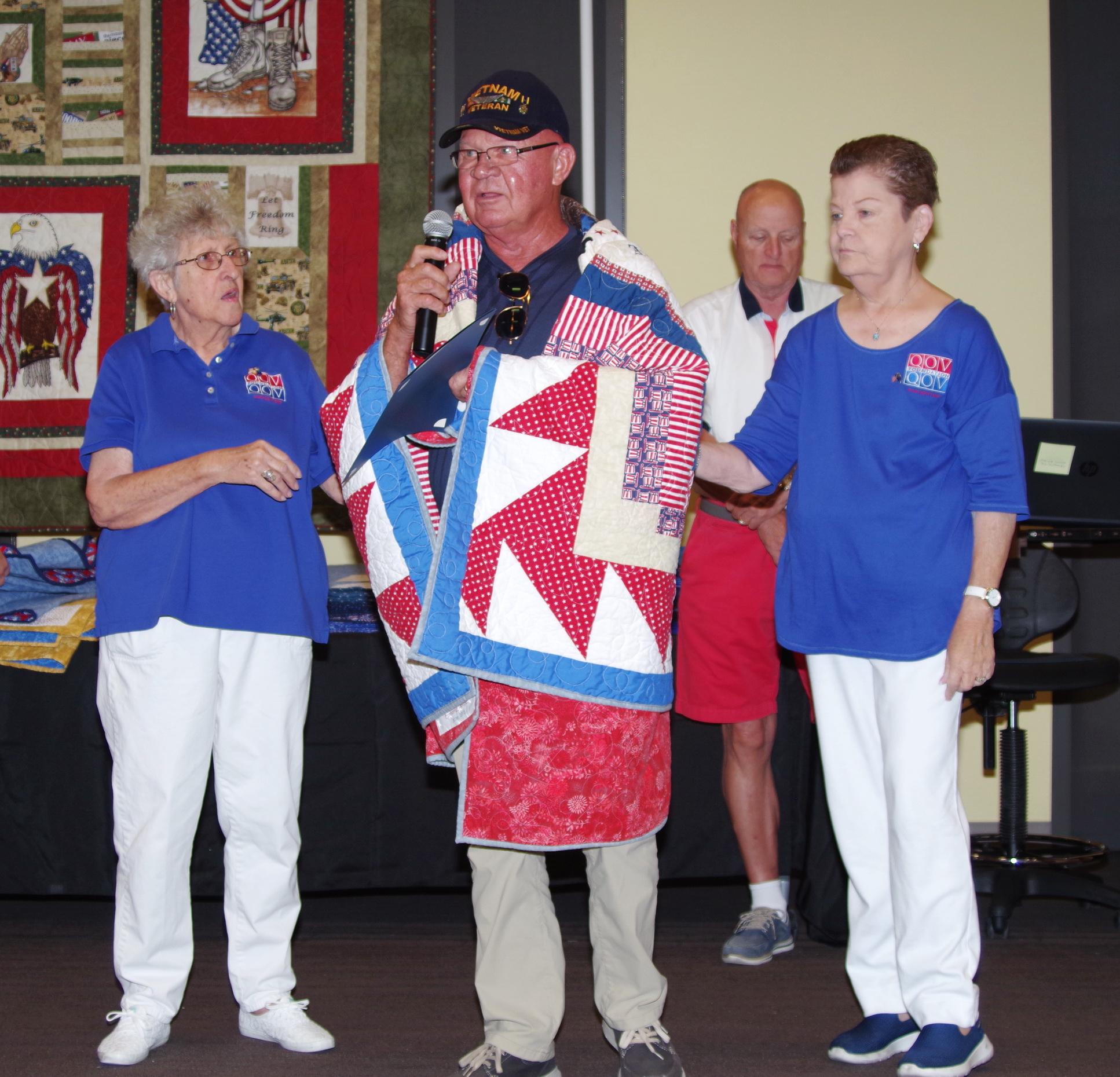 Veteran Receiving his Quilt