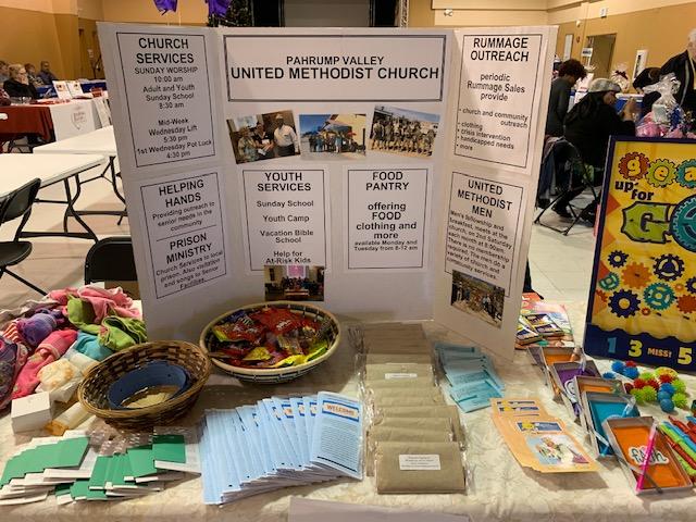 The PVUMC display table at the Social Services Fair 2019