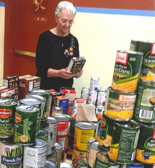 Donated food to provide during the holidays.